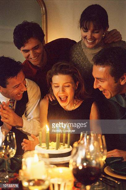 WOMAN BIRTHDAY PARTY, FRIENDS, SURPRISE, WARMTH, THRILL, HOME