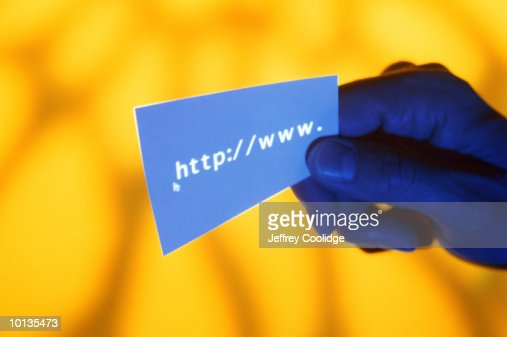 HAND HOLDING CARD WITH HTTP//WWW : Stock Photo