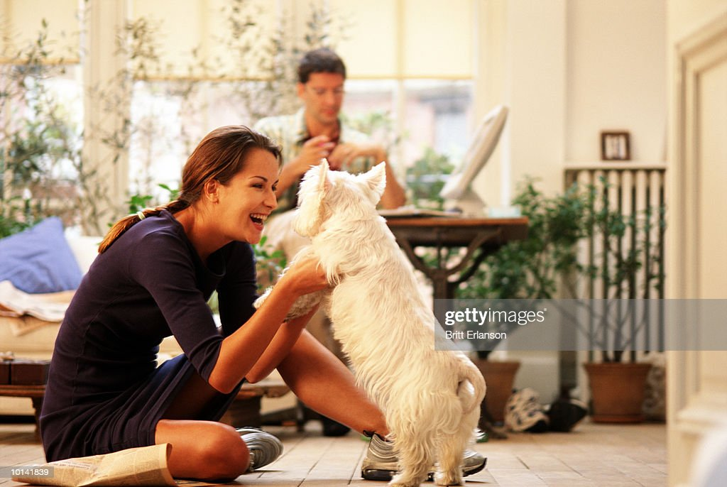 WOMAN AND DOG ON FLOOR, MAN AT COMPUTER, HOME : Stock Photo