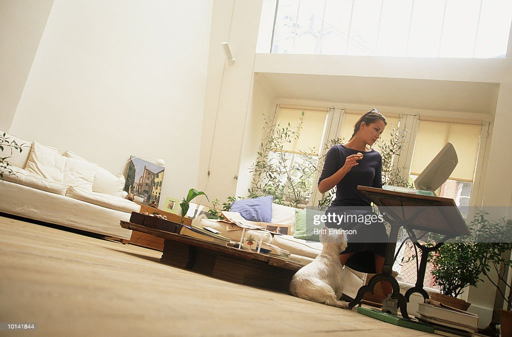 WOMAN EATS IN FRONT OF THIN COMPUTER WITH DOG : Stock Photo