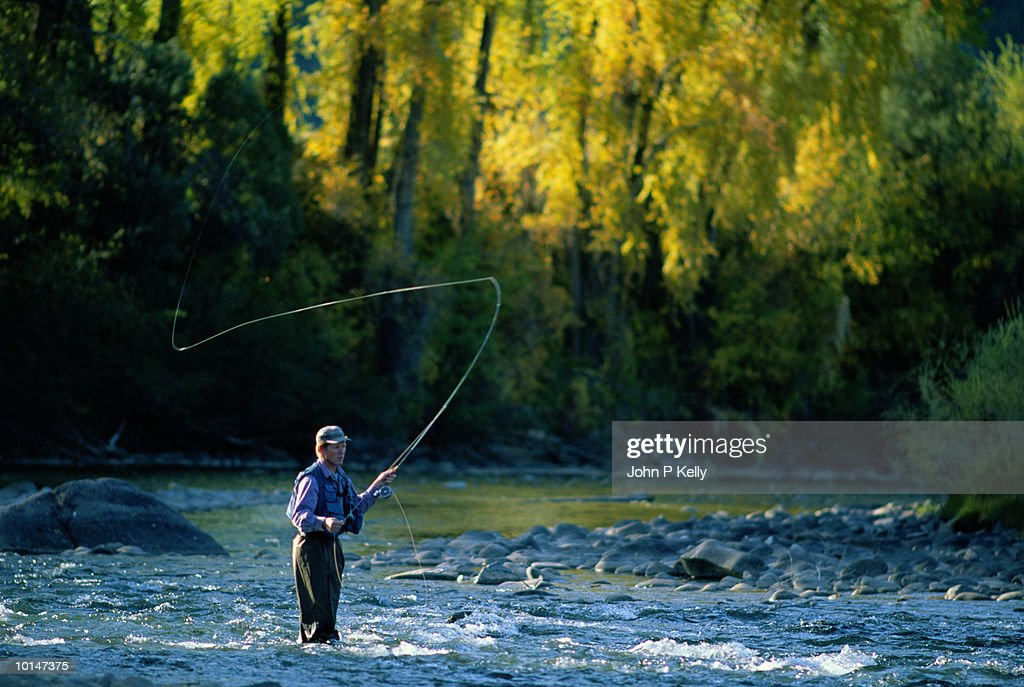 AUTUMN FLY FISHING, CRYSTAL RIVER WESTERN COLORADO : Stock Photo