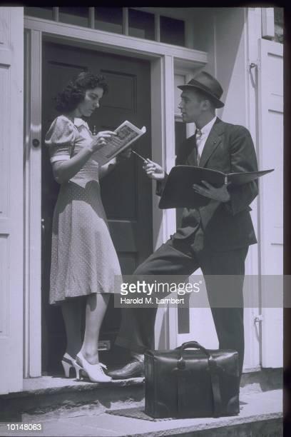 DOOR TO DOOR SALEMAN, CIRCA, 1940S