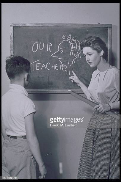 TEACHER SCOLDING BOY FOR CARICATURE OF HER