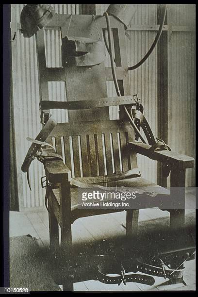 CLOSE SHOT OF AN ELECTRIC CHAIR IN 1920S