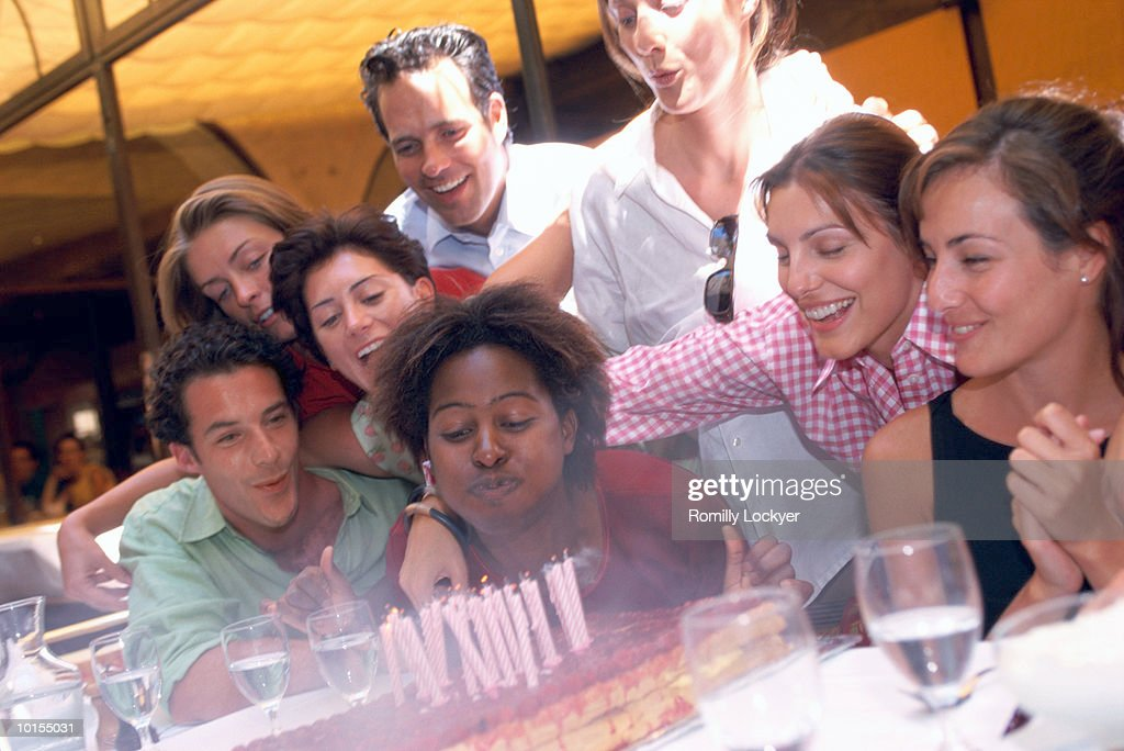 RESTAURANT BIRTHDAY PARTY FOR FRIEND : Stock Photo