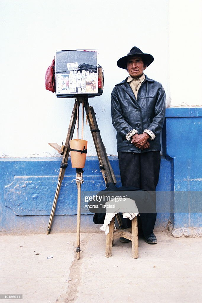 TITICACA LAKE, PHOTGRAPHER, PERU : Stock Photo