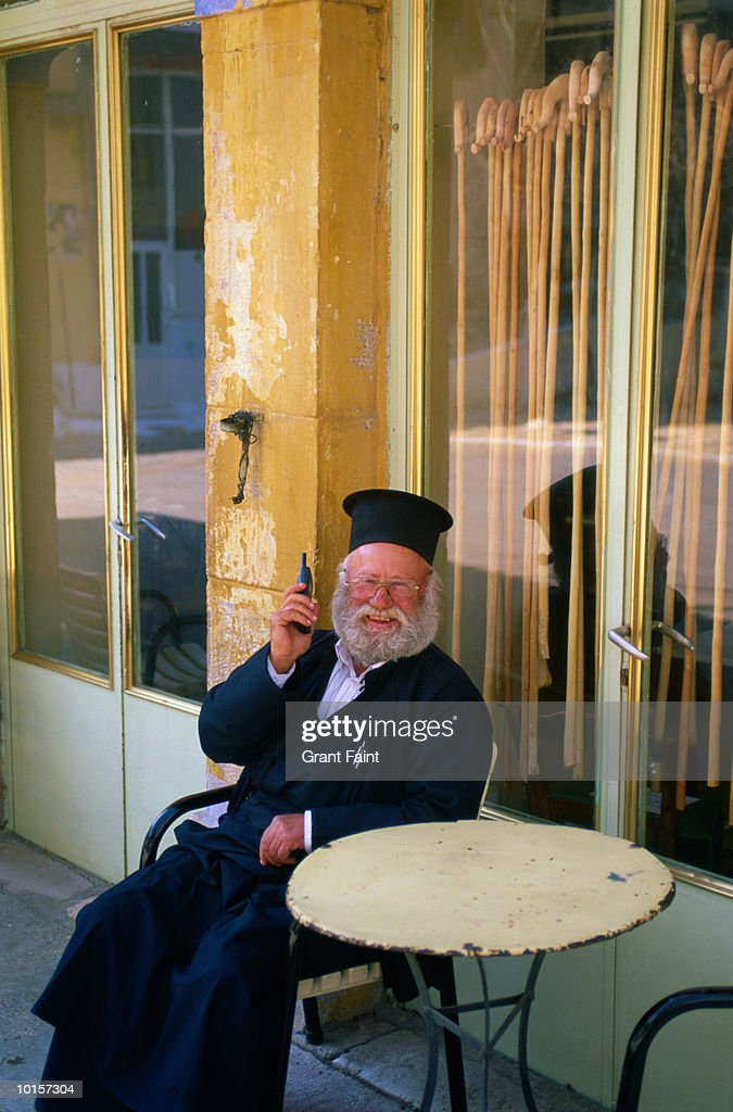 GREEK ORTHODOX PRIEST ON CELL PHONE