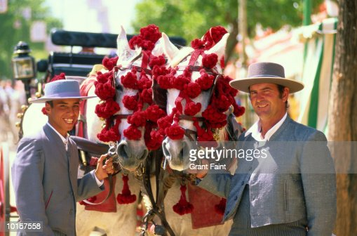 SPAIN, SEVILLE FAIR, FATHER AND SON : Stock Photo
