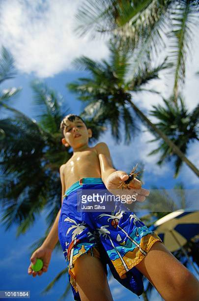 YOUNG LATIN BOY WITH CRAB IN HAND AT BEACH