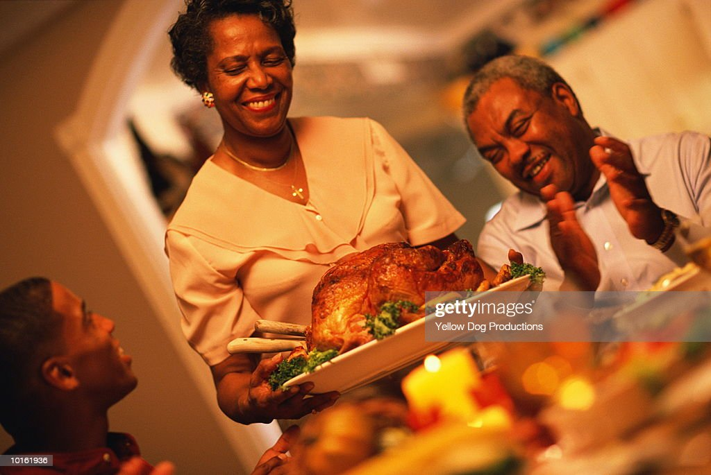 FAMILY HOLIDAY DINNER, THE TURKEY : Stock Photo
