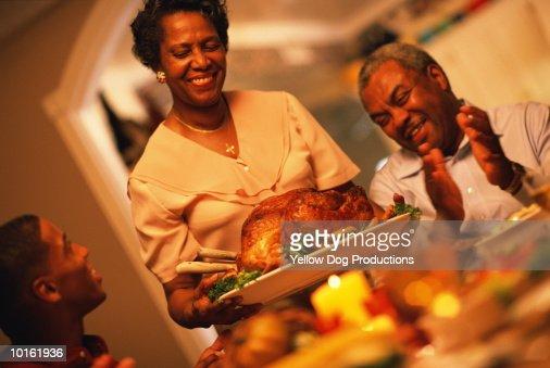 FAMILY HOLIDAY DINNER, THE TURKEY : Stock Photo