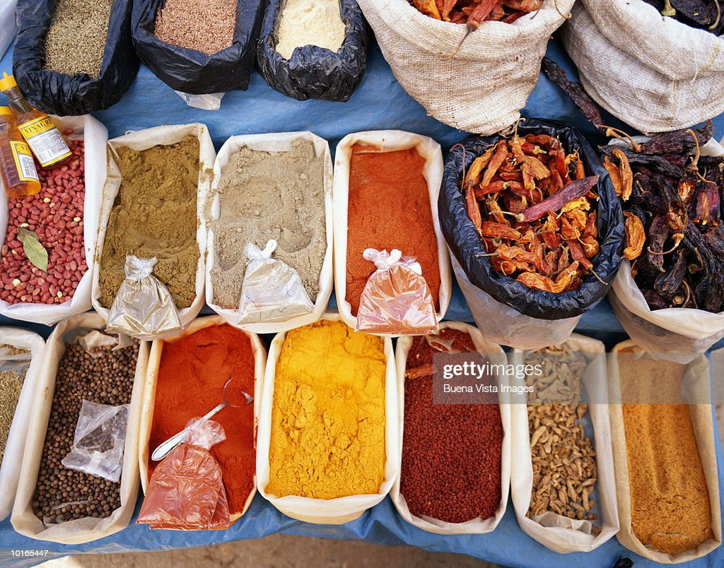 SPICES AND HERBS AT MARKET, PERU : Stock Photo
