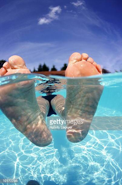 MATURE WOMAN FLOATING IN POOL