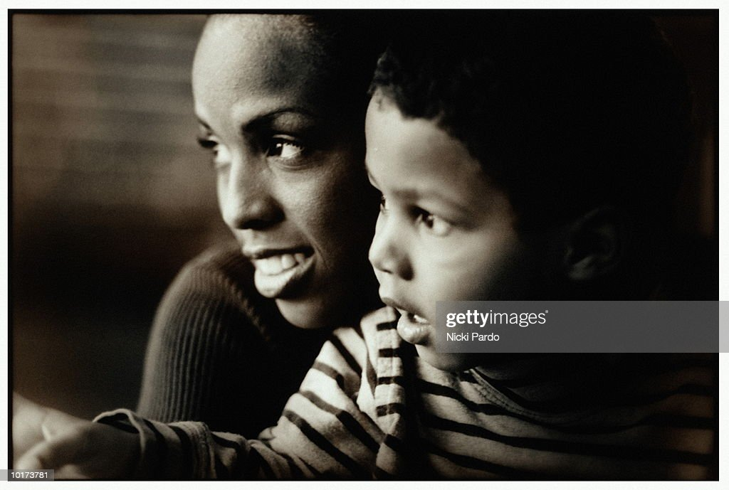MOTHER AND BOY, CLOSE UP : Stock Photo