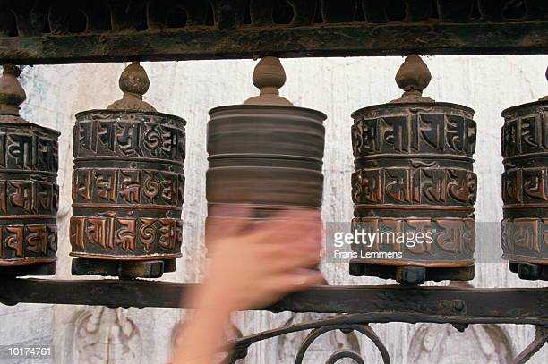 HAND SPINNING PRAYER WHEEL, TEMPLE, KATHMANDU, NEPAL