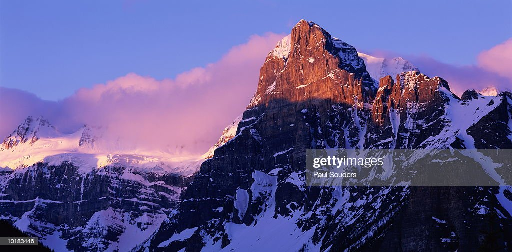 VALLEY OF THE TEN PEAKS, SUNRISE, BANFF NATIONAL PARK, ALBERTA, CANADA : Stock Photo