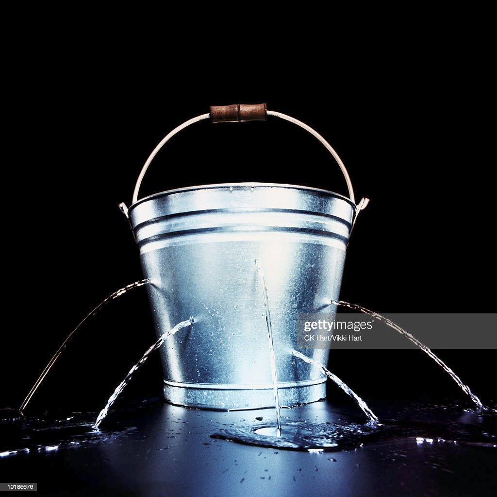 BUCKET WITH HOLES LEAKING WATER