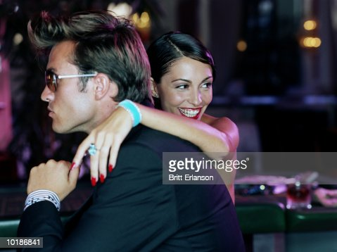 YOUNG COUPLE, WOMAN SMILING, CLOSE-UP : Stock Photo