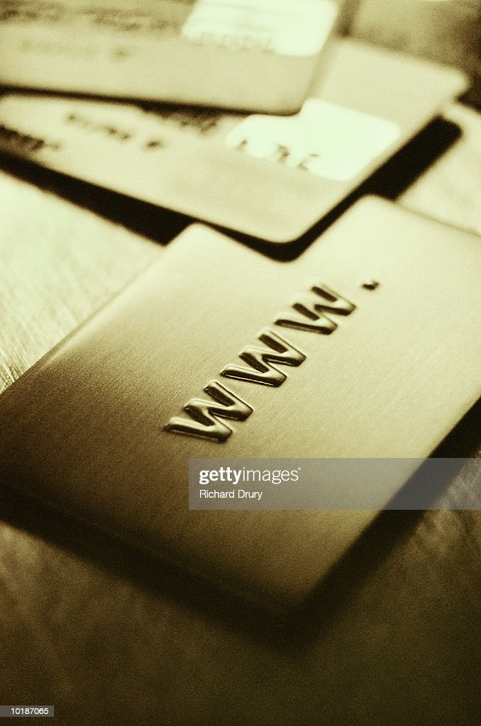 CREDIT CARDS AND INTERNET ADDRESS, CLOSE-UP : Stock Photo