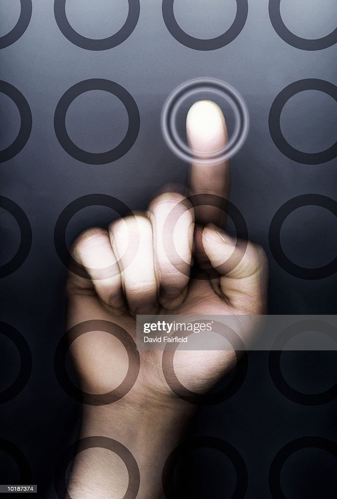FINGER POINTING AT LIT CIRCLE (DIGITAL COMPOSITE) : Stock Photo