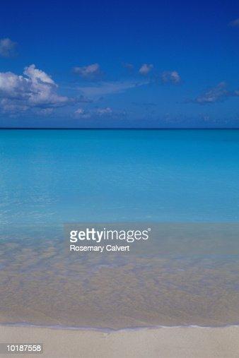 TROPICAL BEACH BENEATH BLUE SKY : Stock Photo