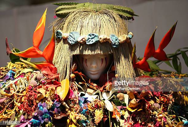 A design is seen as part of the RMIT student floral fashion design competition at the Melbourne International Flower and Garden Show at Carlton...