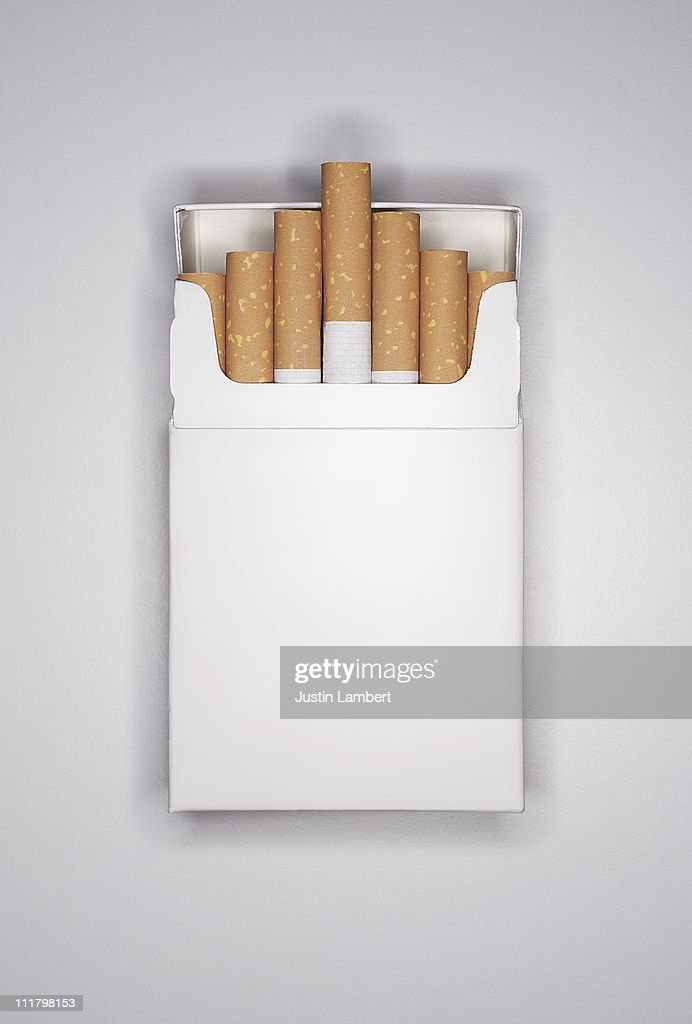 BLANK CIGARETTE PACKET ON WHITE : Stock Photo