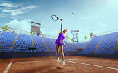 Tennis girl on a professional tennis court.