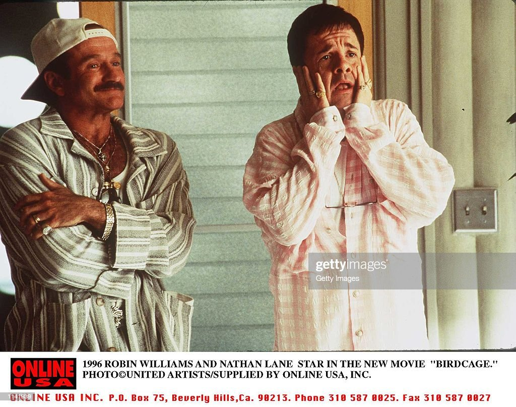 1996 ROBIN WILLIAMS AND NATHAN LANE STAR THE THE NEW MOVIE BIRDCAGE
