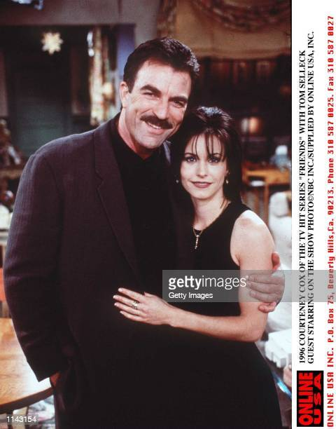 1996 COURTENEY COX AND TOM SELLECK OF THE TV HIT SERIES 'FRIENDS'