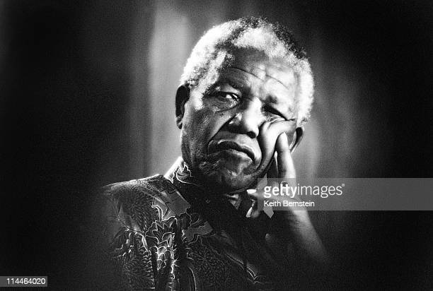 President Nelson Mandela listening during his tour of Johannebsurg and Cape Town April May 1995