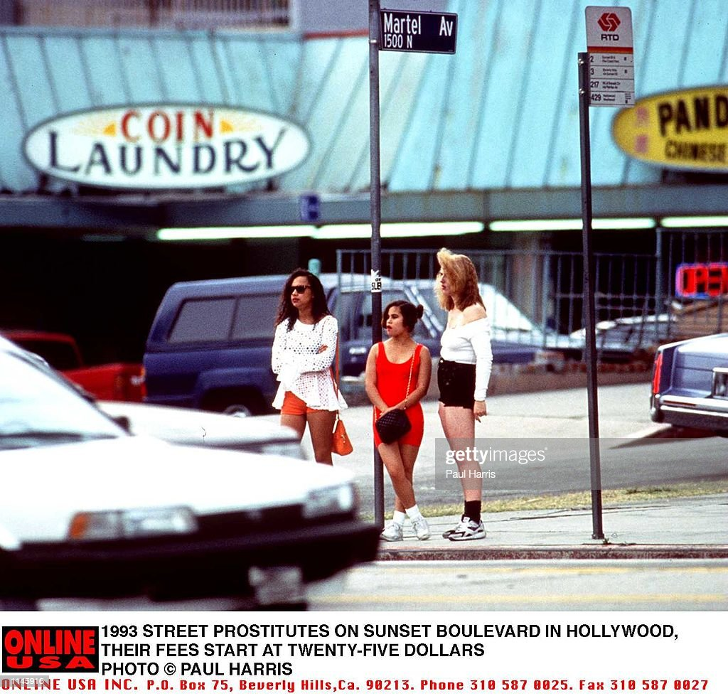 11/23/93 STREET PROSTITUTES ON SUNSET BOULEVARD IN HOLLYWOOD, THEIR FEEWS START AT TWENTUY FIVE DOLLARS