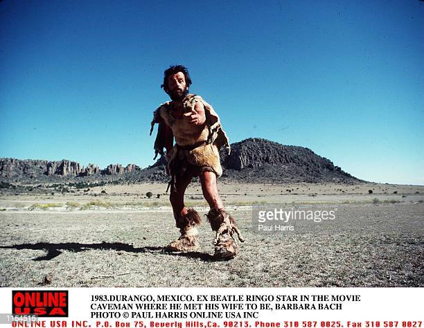 1983DURANGO MEXICO EX BEATLE RINGO STARR ON THE SET OF THE MOVIE ' CAVEMAN THE MOVIE WHERE HE MET CO STAR BARBAR BACH AND LETER MARRIED HER