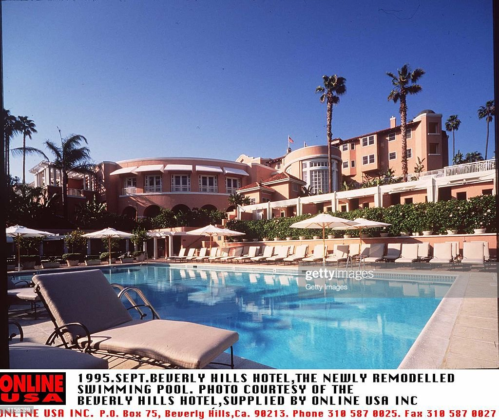SEPTEMBER 1995BEVERLY HILLSTHE SWIMMING POOL AND HOTELNOW REMODELLED AT THE BEVERLY HILLS HOTEL OWNED BY THE SULTAN OF BRUNEI
