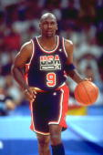 MICHAEL JORDAN OF THE UNITED STATES DRIBBLES THE BALL DOWN THE COURT DURING A BASKETBALL MATCH AGAINST GERMANY AT THE 1992 BARCELONA OLYMPICS IN...