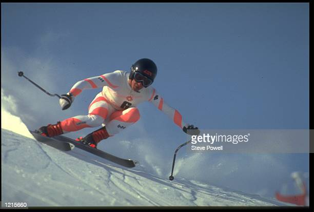 BILL JOHNSON OF THE UNITED STATES IN ACTION DURING THE MENS DOWNHILL COMPETITION AT THE 1984 WINTER OLYMPICS HELD IN SARAJEVO JOHNSON WON THE GOLD...