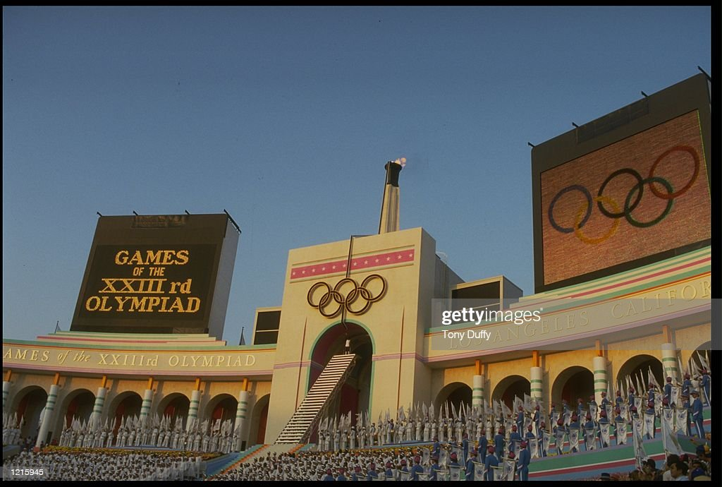 A VIEW OF THE STANDS DURING THE OPENING CEREMONY OF THE 1984 OLYMPIC GAMES HELD IN THE LOS ANGELES MEMORIAL COLISEUM