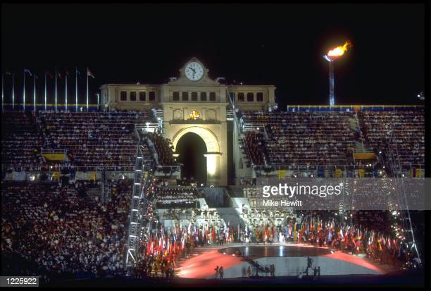 A HUGE DISPLAY IS PUT ON IN THE CENTRE OF THE OLYMPIC STADIUM DURING THE CLOSING CEREMONY OF THE 1992 BARCELONA OLYMPICS