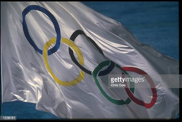 THE OLYMPIC FLAG IS SHOWN IN ALL ITS GLORY DURING THE CLOSING CEREMONY OF THE 1992 BARCELONA OLYMPICS