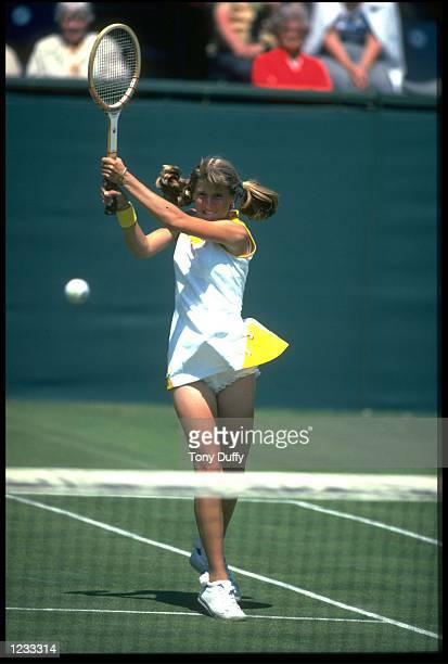 TRACEY AUSTIN IN ACTION DURING A MATCH AT THE 1978 EASTBOURNE LADIES TENNIS CHAMPIONSHIPS