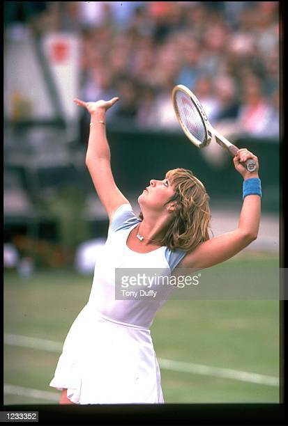 CHRIS EVERT OF THE UNITED STATES TOSSES THE BALL IN THE AIR AS SHE PREPARES TO SERVE DURING A MATCH AT THE 1978 WIMBLEDON TENNIS CHAMPIONSHIPS