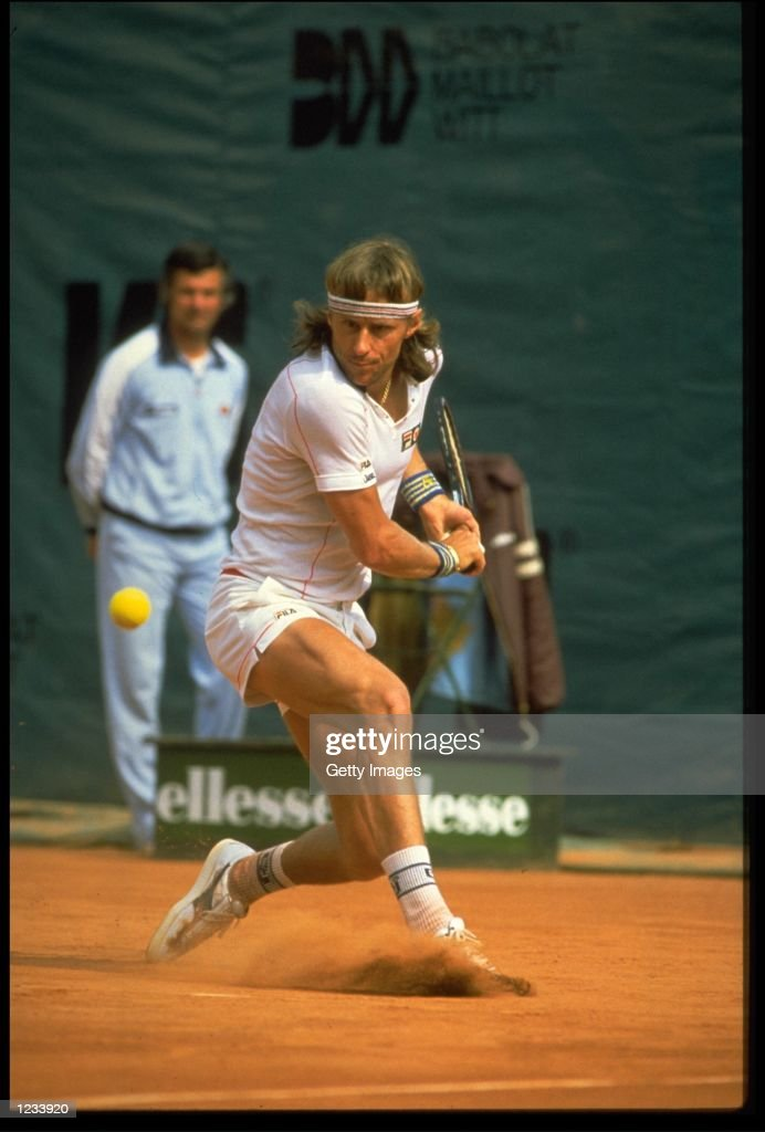 BJORN BORG OF SWEDEN HITS A BACKHAND DURING THE FRENCH OPEN AT THE STADE ROLAND GARROS IN PARIS.