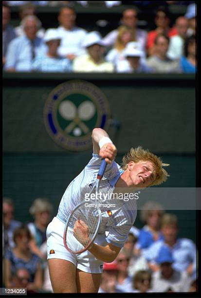 BORIS BECKER OF GERMANY SERVES ON THE CENTRE COURT DURING THE MENS SINGLES CHAMPIONSHIPS AT WIMBLEDON
