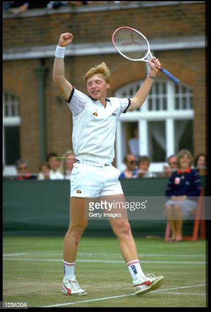 BORIS BECKER OF GERMANY CELEBRATES WINNING THE STELLA ARTOIS MENS SINGLES TITLE AT QUEENS CLUB IN LONDON