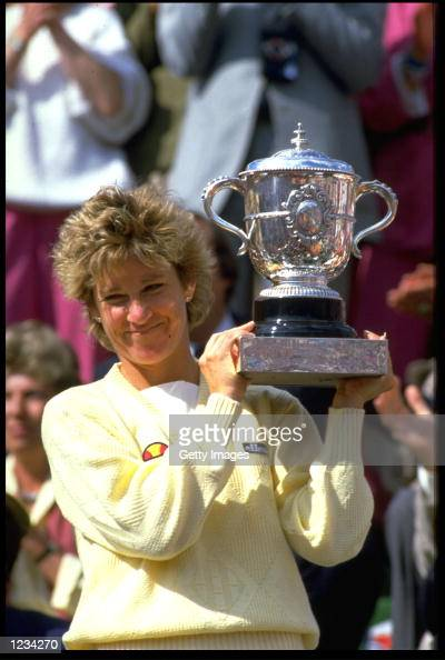 CHRIS EVERT OF THE UNITED STATES HOLDS THE FRENCH OPEN TROPHY AFTER WINNING THE LADIES SINGLES IN PARIS AT THE STADE ROLAND GARROS