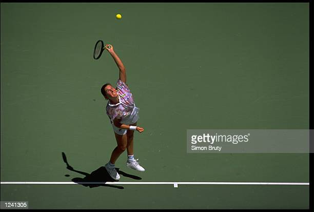AN OVERHEAD PICTURE OF MONICA SELES SERVING AT THE 1993 AUSTRALIAN OPEN GRAND SLAM