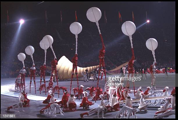 A GENERAL VIEW OF THE OPENING CEREMONY OF THE 1992 WINTER OLYMPICS HELD IN ALBERTVILLE IN FRANCE