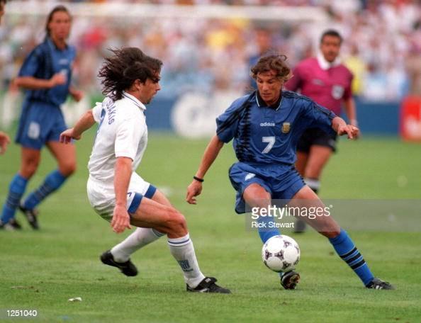 ATHANASIOS KOLITSIDAKISLEFT OF GREECE CHALLENGES CLAUDIO CANIGGIA OF ARGENTINA IN THE WORLD CUP GAME AT FOXBORO STADIUM IN MASSACHUSETTS ARGENTINA...