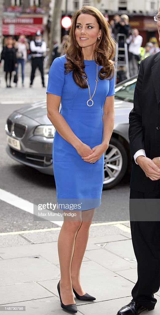 Catherine Duchess of Cambridge in her role as patron visits the 'Road to 2012 Aiming High' exhibition at the National Portrait Gallery on July 19...