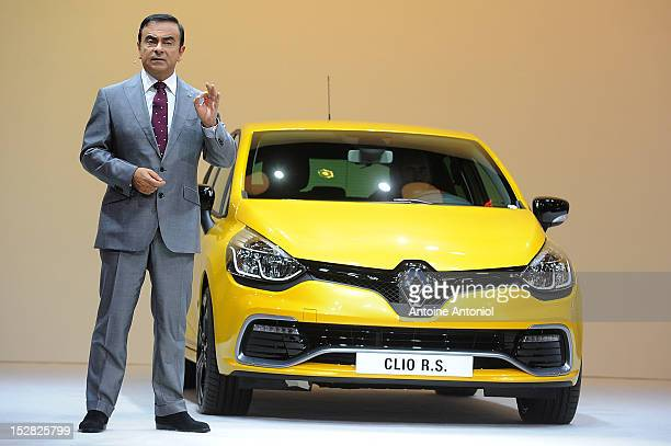 Carlos Ghosn chief executive officer of Nissan Motor Co and Renault SA speaks during a news conference for the presentation of the new Renault Clio...